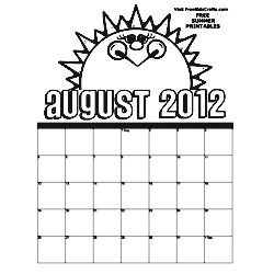 2012 August Coloring Calendar - Kids Crafts