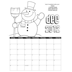 2012 December Coloring Calendar - Kids Crafts