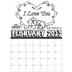 2013 February Coloring Calendar - Kids Crafts