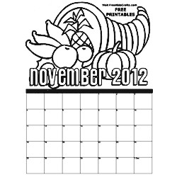 2012 November Coloring Calendar - Kids Crafts