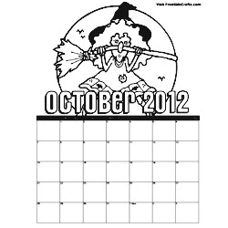 2012 October Coloring Calendar - Kids Crafts