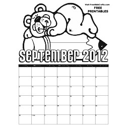 2012 September Coloring Calendar Craft