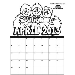 2013 April Coloring Calendar - Kids Crafts