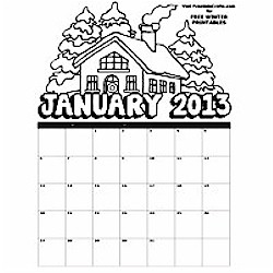 2013 January Coloring Calendar - Kids Crafts