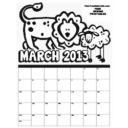 March 2013 Coloring Calendar Craft