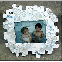 Recycled Puzzle Bubble Frame Craft