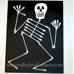Q-Tip Skeleton - Kids Crafts