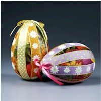 Ribbon and Paper Eggs - Kids Crafts