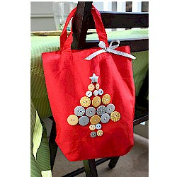 ChristmasTree Button Tote - Kids Crafts