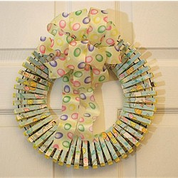 Clothes Pin Easter Wreath - Kids Crafts
