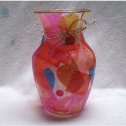 Decoupage Vase for Valentines Day - Kids Crafts