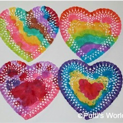 Painted Doily Hearts Craft