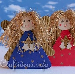 Golden Haired Paper Angels - Kids Crafts