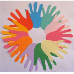 Multicolored Handprint Wreath Craft