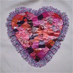 Recycled Magazine Mosaic Heart - Kids Crafts