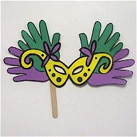 Handprint Mardi Gras Mask Craft
