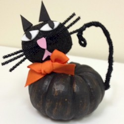 Mini Pumpkin Black Cat Craft