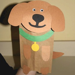 Paper Bag Dog Puppet - Kids Crafts