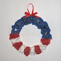 Patriotic Tissue Paper Wreath Craft