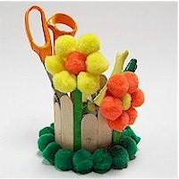 Pom Pom Flowered Desk Caddy - Kids Crafts