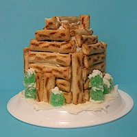 Pretzel Log Cabin Craft