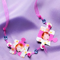 Puzzle Piece Photo Necklace - Kids Crafts