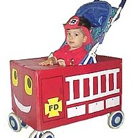 Stroller Fire Truck Costume - Kids Crafts