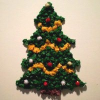 Tissue Paper Christmas Tree - Kids Crafts