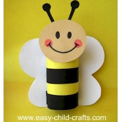 Cardboard Tube Spring Bee - Kids Crafts