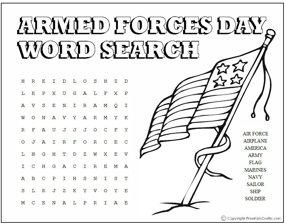 Armed Forces Day Word Search - Kids Crafts