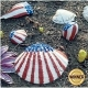 Seashells decorated in red, white and blue