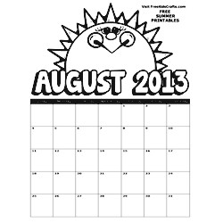 Image of 2013 August Coloring Calendar