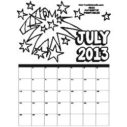 Image of 2013 July Coloring Calendar