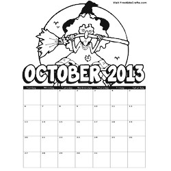 Image of 2013 October Coloring Calendar