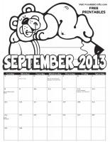 Image of 2013 september coloring calendar