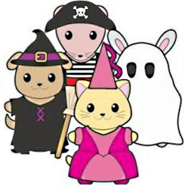 Animal paper dolls dressed up for Halloween