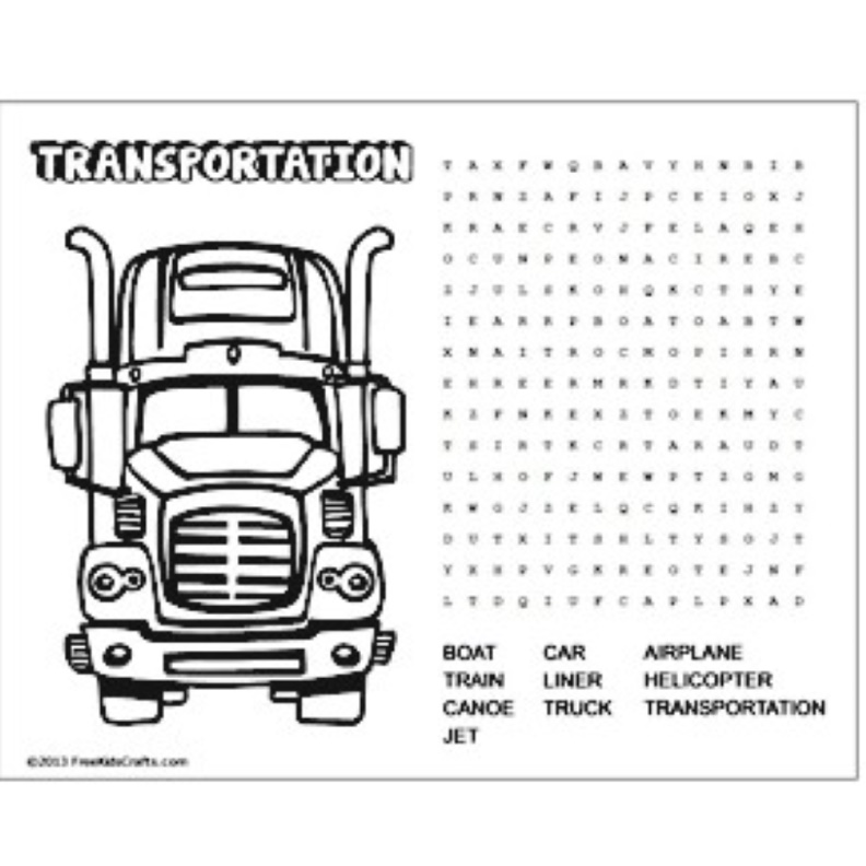 Printable word search about transportation