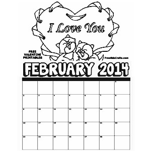 Image of 2014 February Coloring Calendar