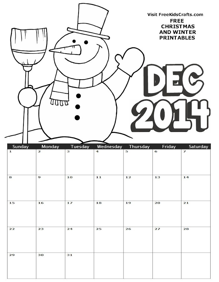 Image of 2014 December Coloring Calendar