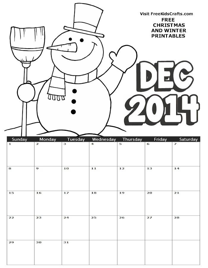 Image of 2014 December Coloring Calendar