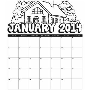 Image of 2014 January Coloring Calendar