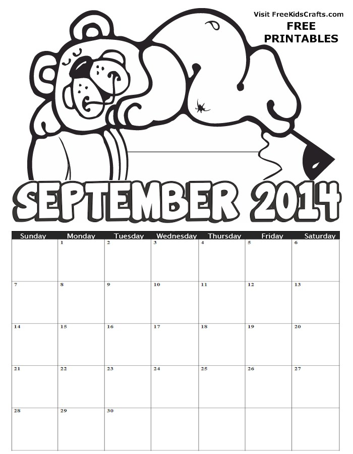 Image of Printable 2014 September Coloring Calendar