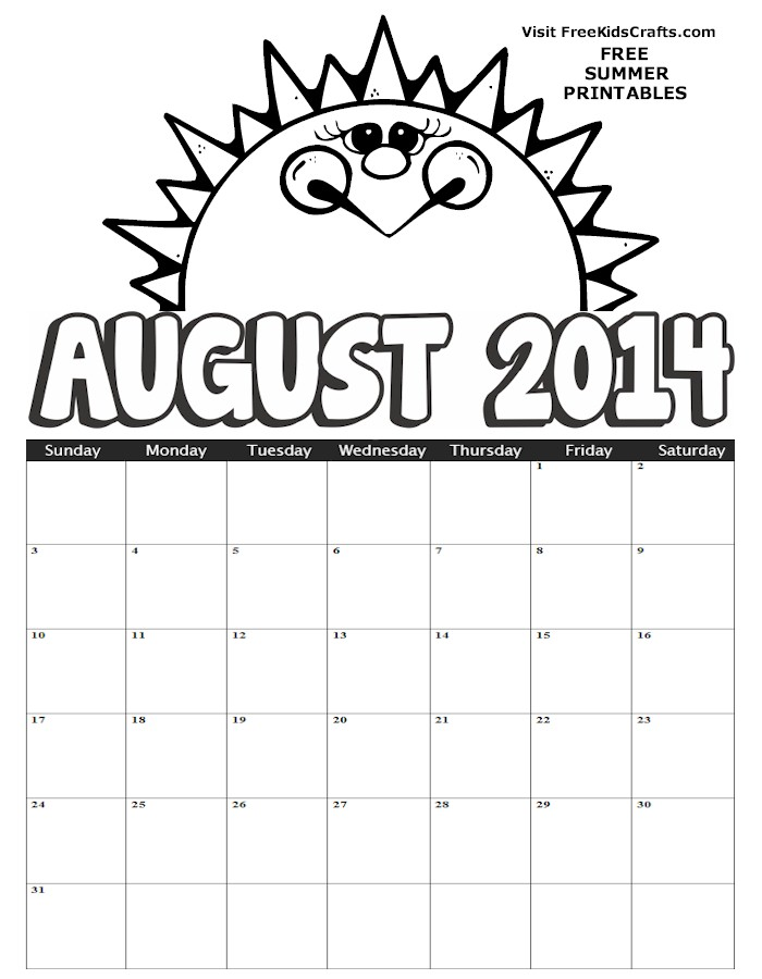 Image of 2014 August Coloring Calendar