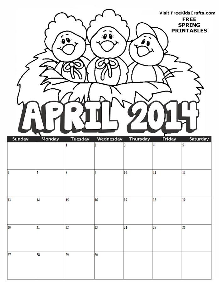 Calendar Kids April : Calendar april free kids crafts