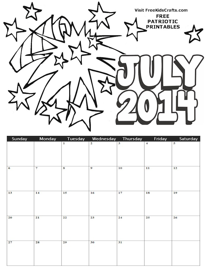Image of 2014 July Coloring Calendar