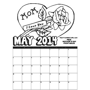 Image of 2014 May Coloring Calendar