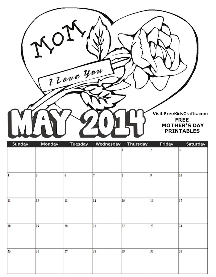 2014 calendars free printable color new calendar for May coloring pages printable