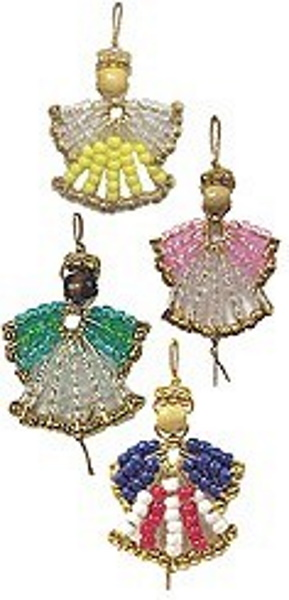 Angel ornaments made from beads and safety pins