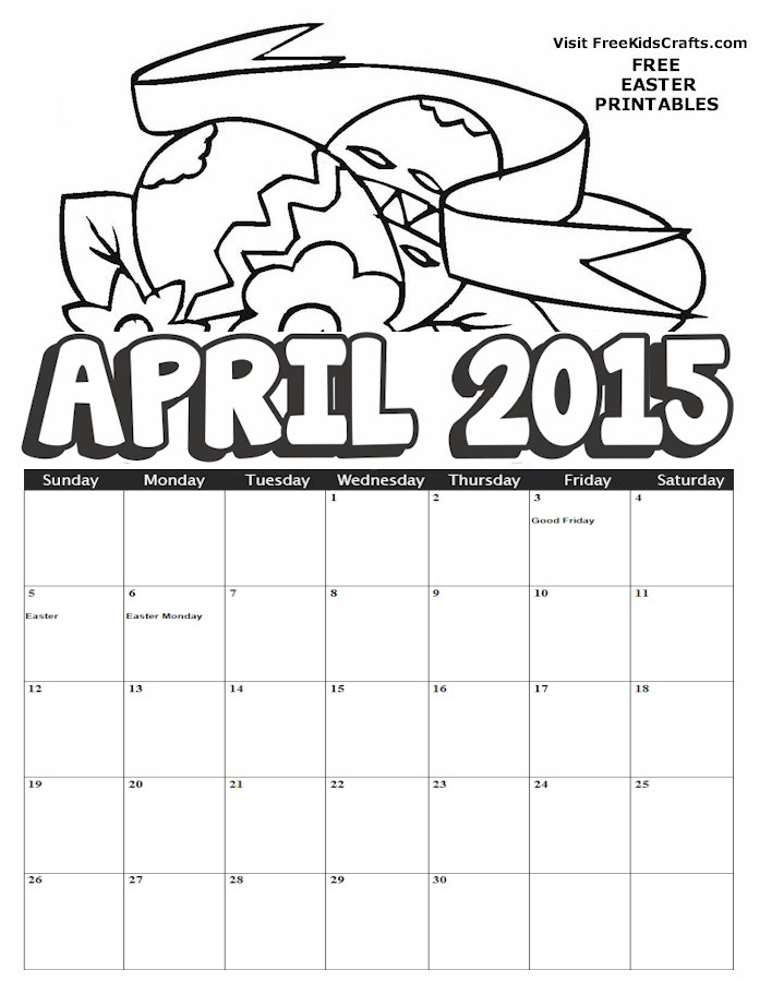 Image of 2015 April Coloring Calendar