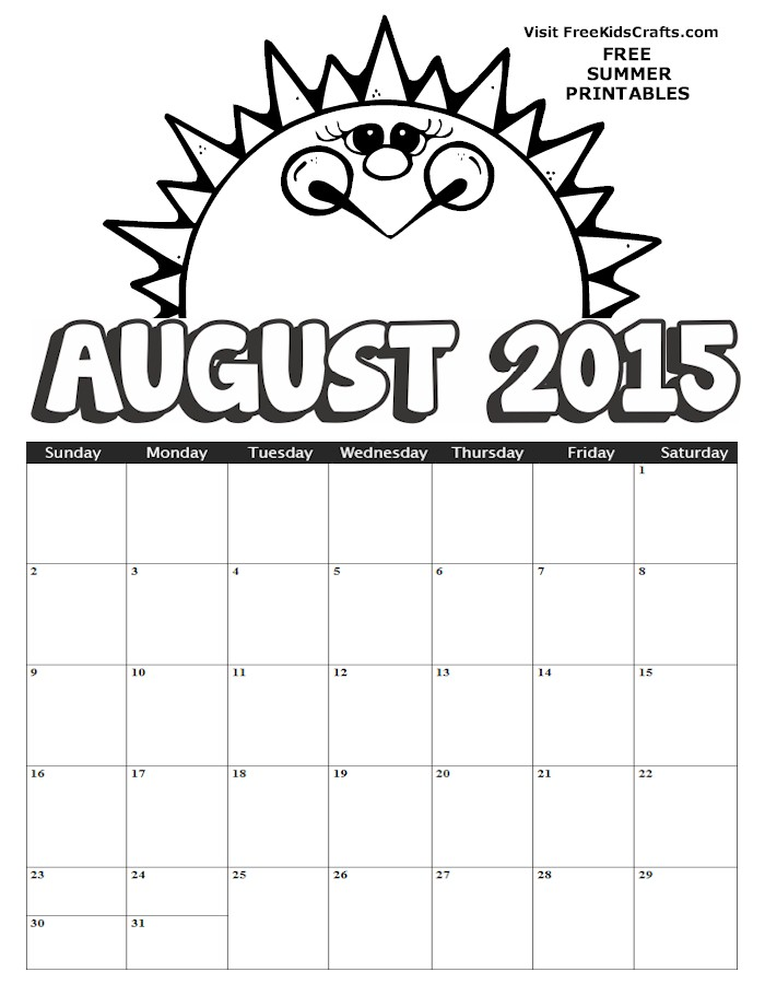 Image of 2015 August Coloring Calendar